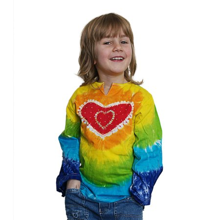 Rainbow sequinned tie dye heart long sleeve top - artnomore.co.uk