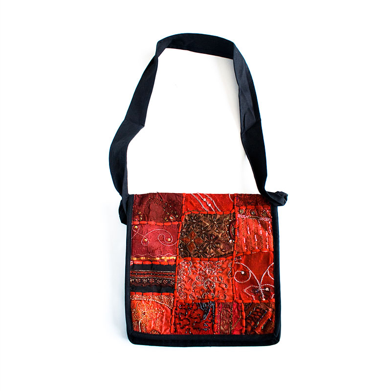 Large moti sari patch shoulder bag - artnomore.co.uk