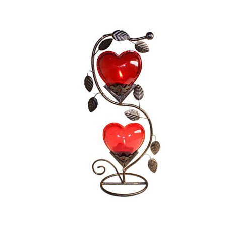 Double Big Heart Romantic Candle Holder - artnomore.co.uk