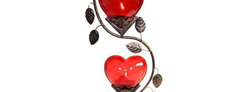 Double Big Heart Romantic Candle Holder - artnomore.co.uk