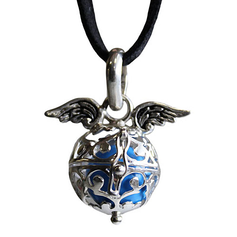 Angel Wing Necklace - Angel Wings & Bell - Sky
