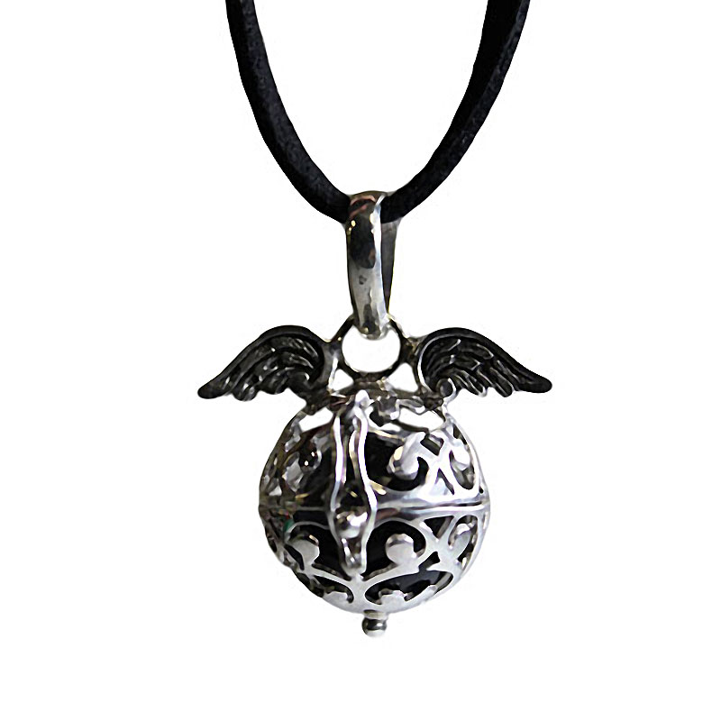 Angel Wing Necklace - Angel Wings & Bell - Lavender - Black