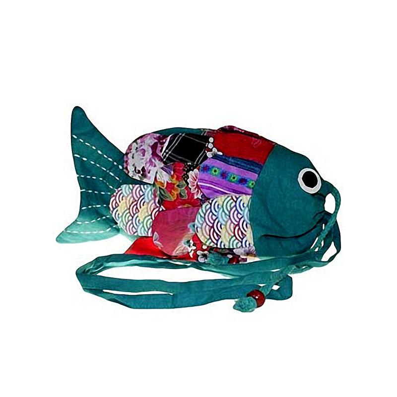Recycled Handmade Fish Bag - Green