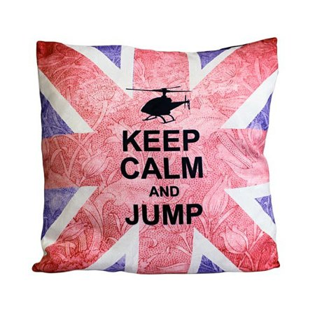 Art Cushion Cover - Keep Calm & Jump - artnomore.co.uk gift shop