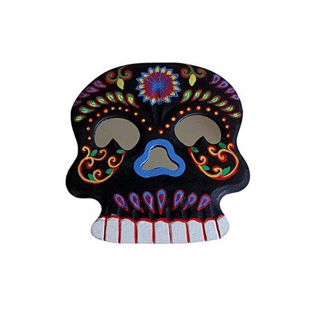 Floral Skull Mirror - Black - artnomore.co.uk
