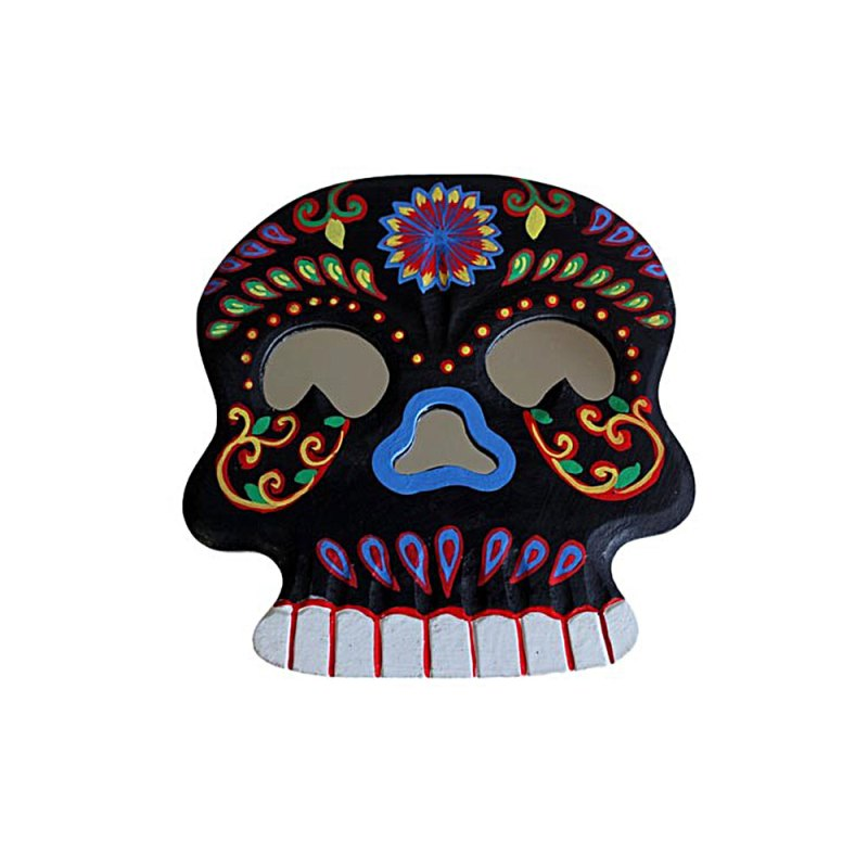 Floral Skull Mirror - Black - artnomore.co.uk