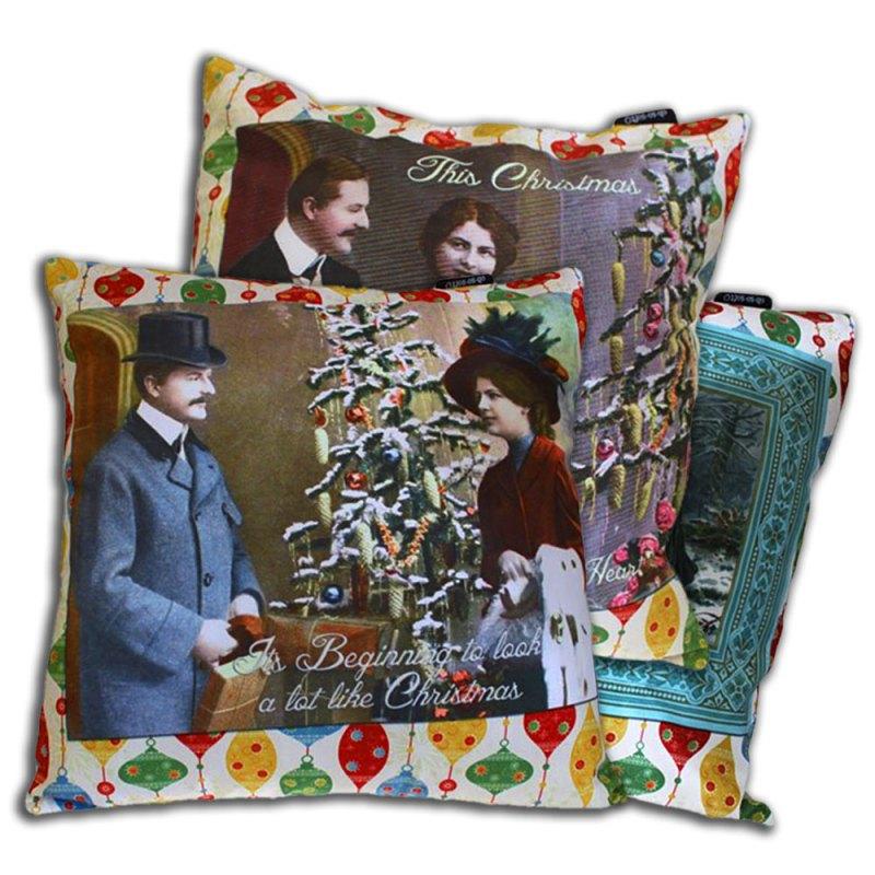 christmas art vintage retro cushion covers image