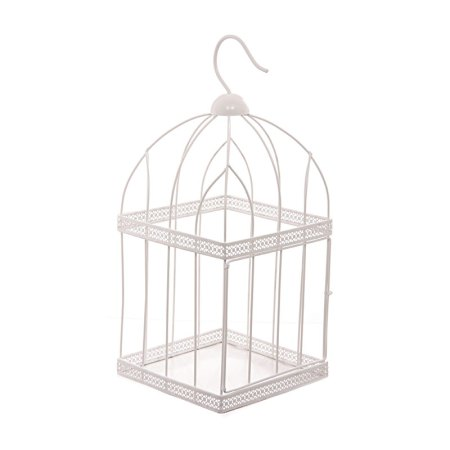 44cm square white wire bird cage decorative image 1