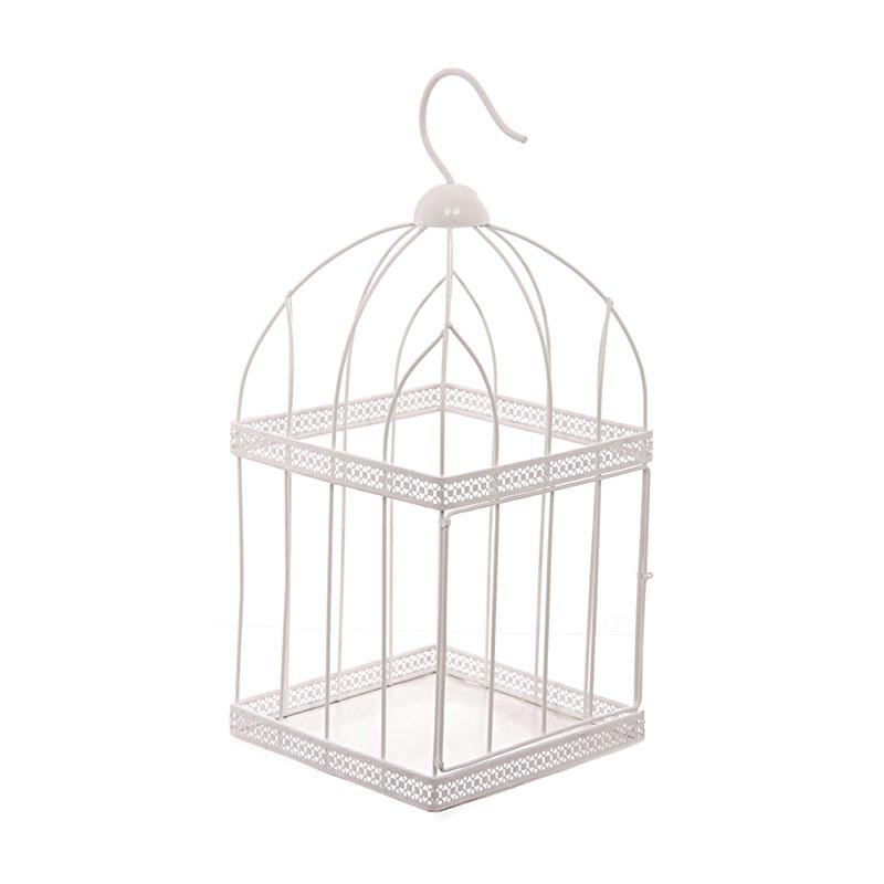 44cm square white wire bird cage decorative image 1