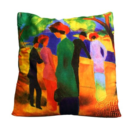 art cushion covers based on painting Woman in Green Jacket from August Macke