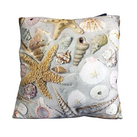art cushion covers shells in sand