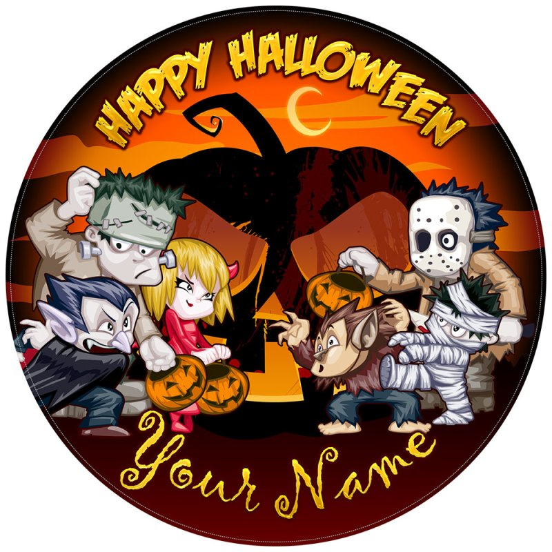 Halloween Cake Toppers Funny Monsters with orange background