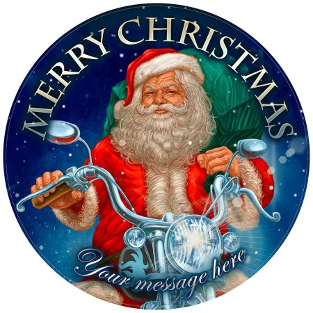 Personalised Santa Claus Cake Decoration on edible icing image