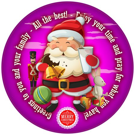 Smiley Santa Personalised Christmas Cake Topper image purple round