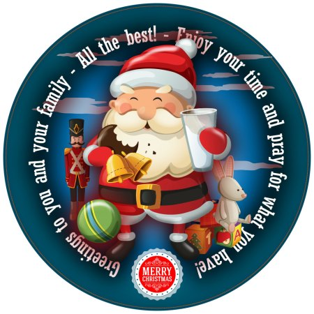 Smiley Santa Personalised Christmas Cake Topper image blue round