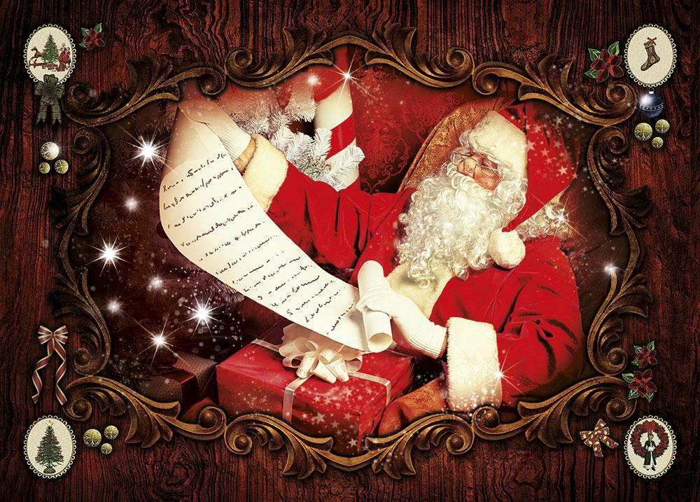 Santa Claus greeting cards - Santa with List Image