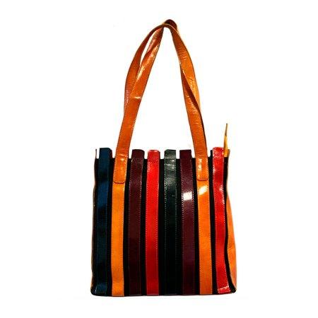 striped leather bag rich colours