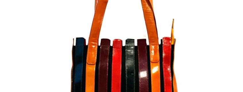 striped leather bag rich colours