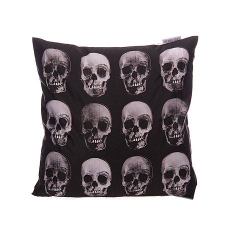 black and white skull cushion covers front
