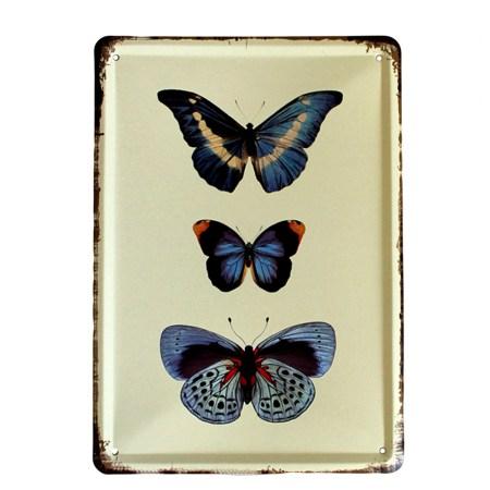 Vintage Metal Signs Blue Butterflies Wall Art