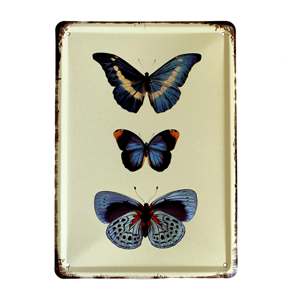 Vintage Metal Signs Blue Butterflies Wall Art