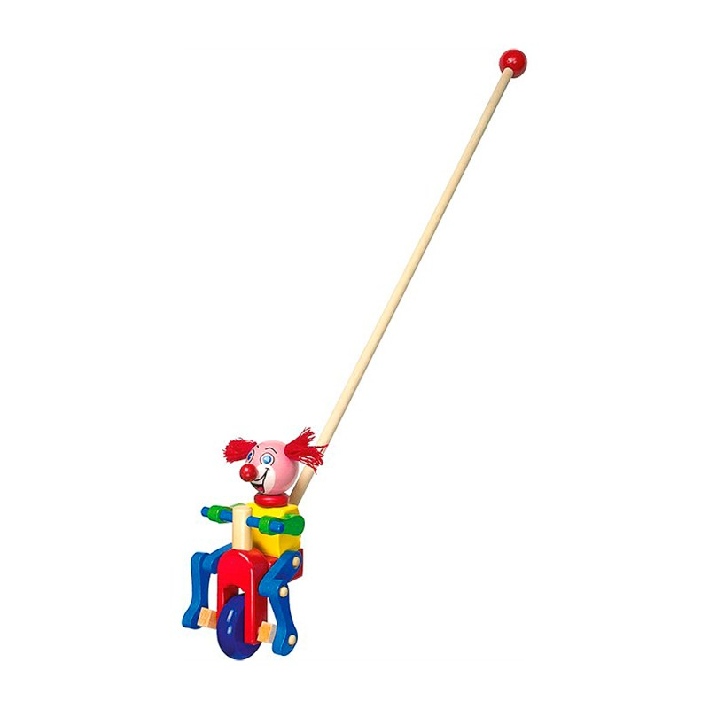 pushing wooden clown toy ginger from legler image 1