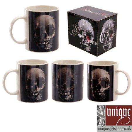black skull coffee mug set from uniquegiftshop.co.uk image 1