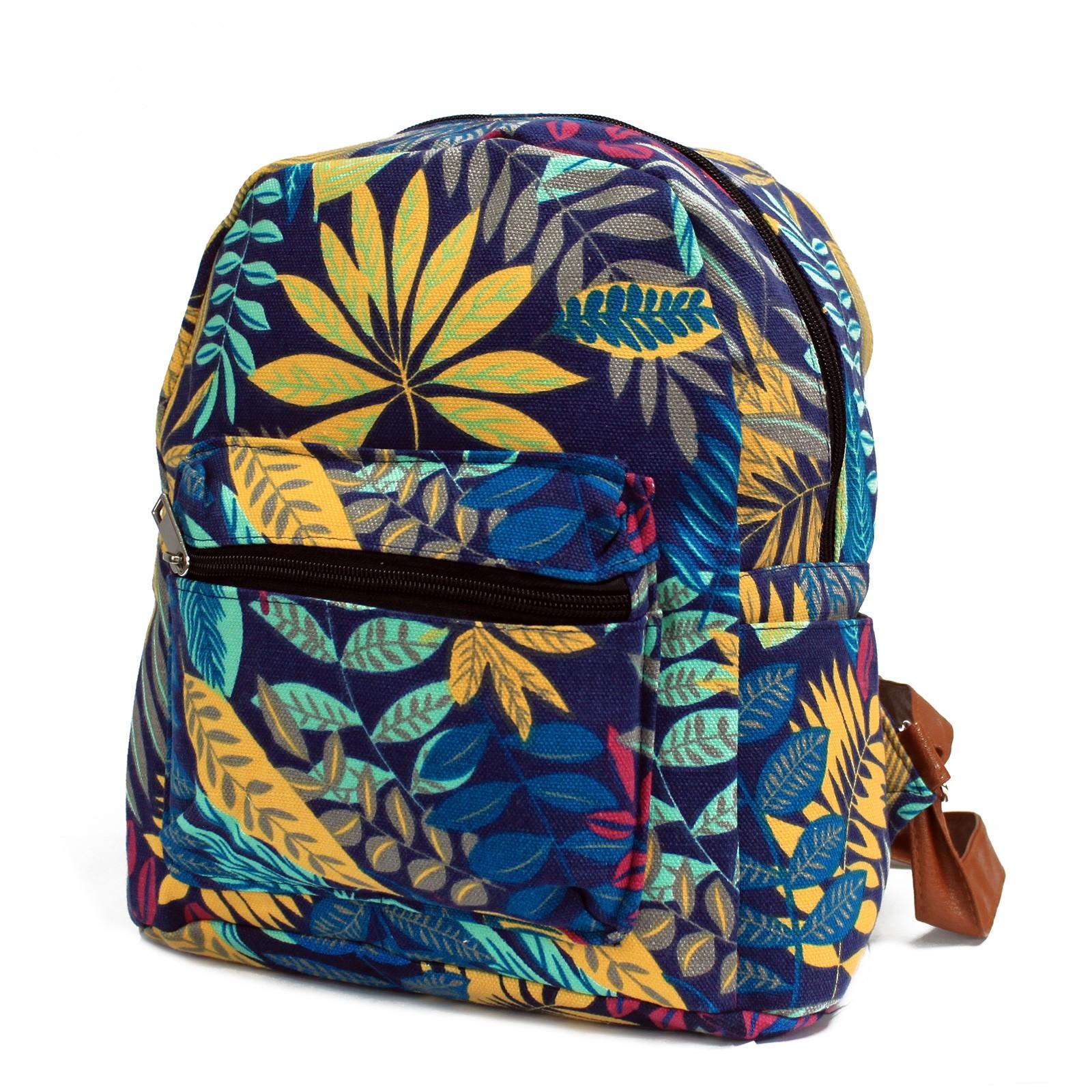 Jungle Backpack Bag Undersized Leaf Print Plant Design Canvas Rucksack Blue  Teal 20997639fb89d