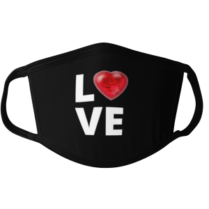 love face mask, heart face mask, rose face mask, black face mask, love mask