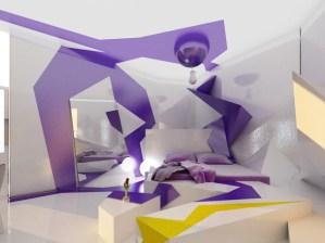 紫のラインがかっこいい寝室