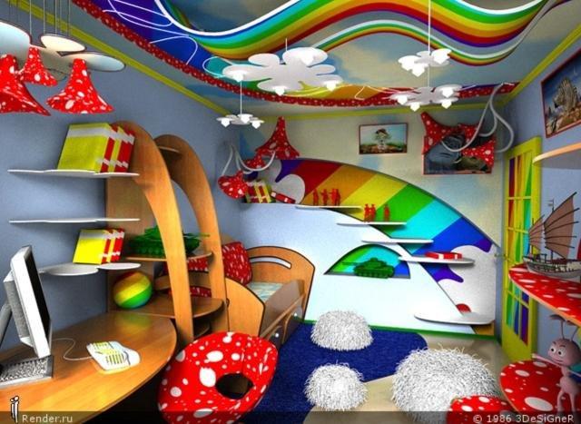 カラフルなレインボーがおしゃれな子供部屋