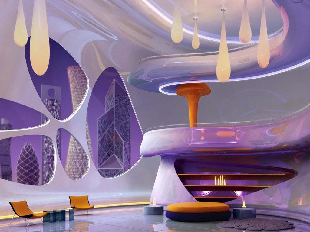 未来的な紫と黄色で統一されたリビング