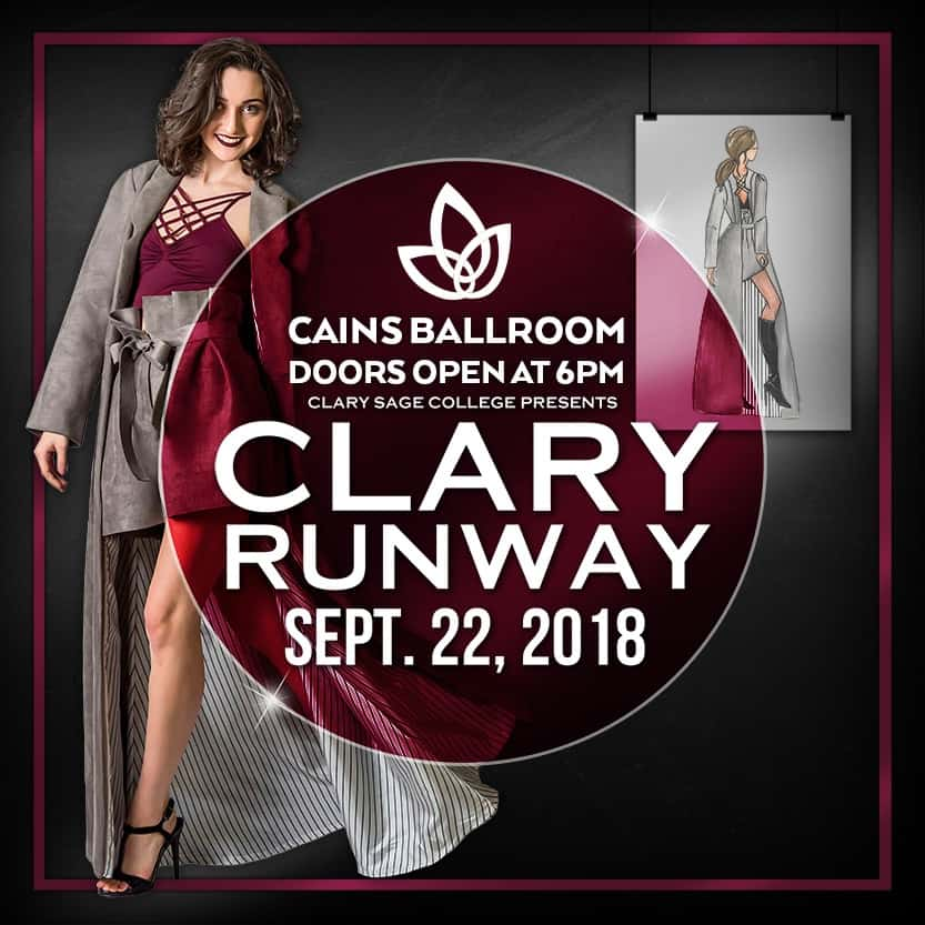 Clary Runway Show Poster hosted by the Cain's Ballroom featuring a model and sharp design sketch