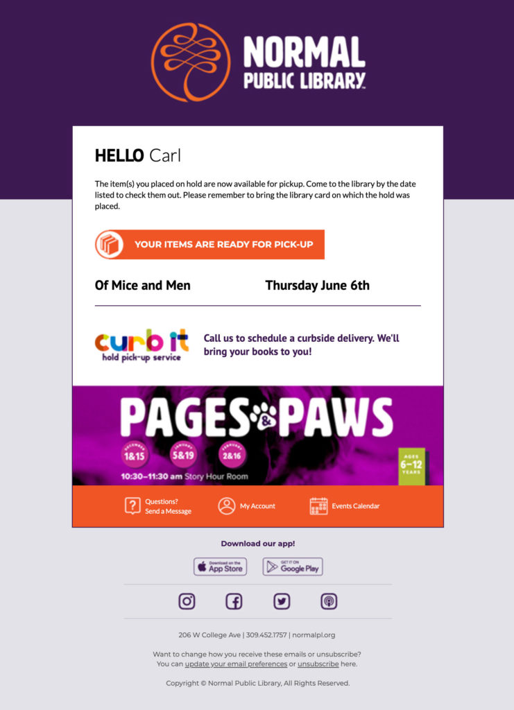 Your items are ready email template