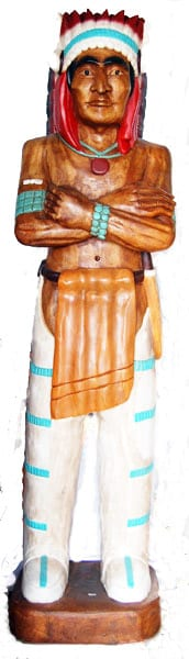 Carved Native American Chief W