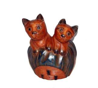 Wood Two Kittens in a Basket