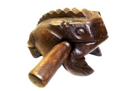 "Wooden Croaking Dark Frog 4"" L"