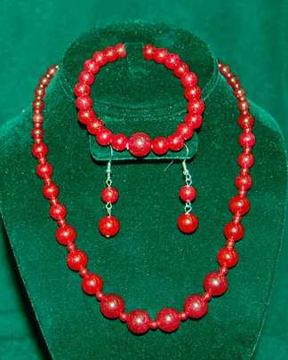 Red Agate Jewelry Set