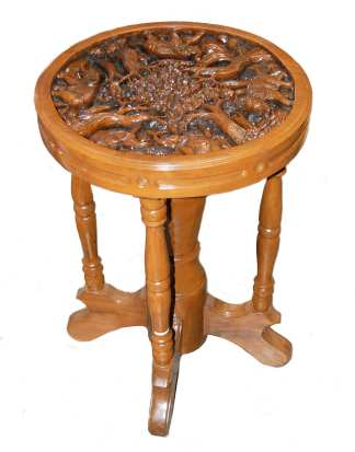 Carved Elephant Side Table