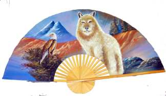 Hand Painted Fan of Eagle Wolf