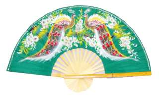 Hand Painted Fan w Two Peacock