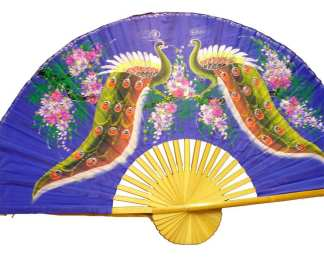 Hand Painted Fan 2 Peacocks