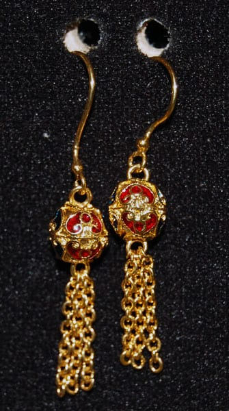 Gold Dip Red Earring