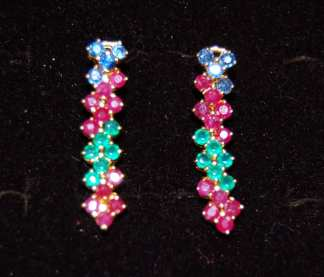 Multi-Color Ruby Earrings