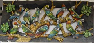 Carved Parrots 21 x 39 inch