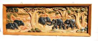 Hand Carved Elephant Scene-2