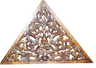 Carved Teak Triangle Wall Decor