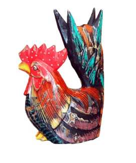Wood Rooster with Tail Up