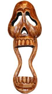 Wood Skull Mask with Open Mouth