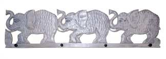 Three Elephant Wood Coat Hanger